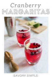 Cranberry margarita with text overlay.
