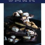 S'mores bark with text overlay.