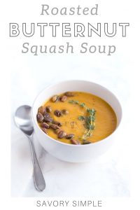 Butternut squash soup with text overlay.