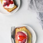 Beautiful blood orange olive oil cake, photographed from above
