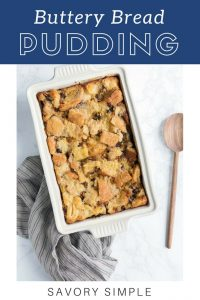 Bread pudding with text overlay.