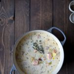 Salmon chowder in a dutch oven.