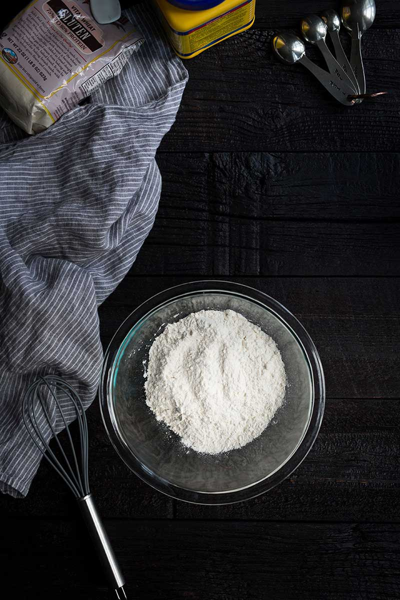 A photo of all-purpose flour in a bowl.