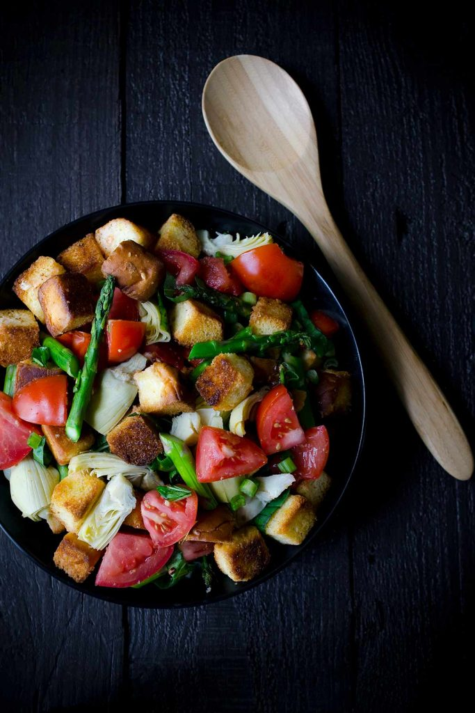 A photo of panzanella salad