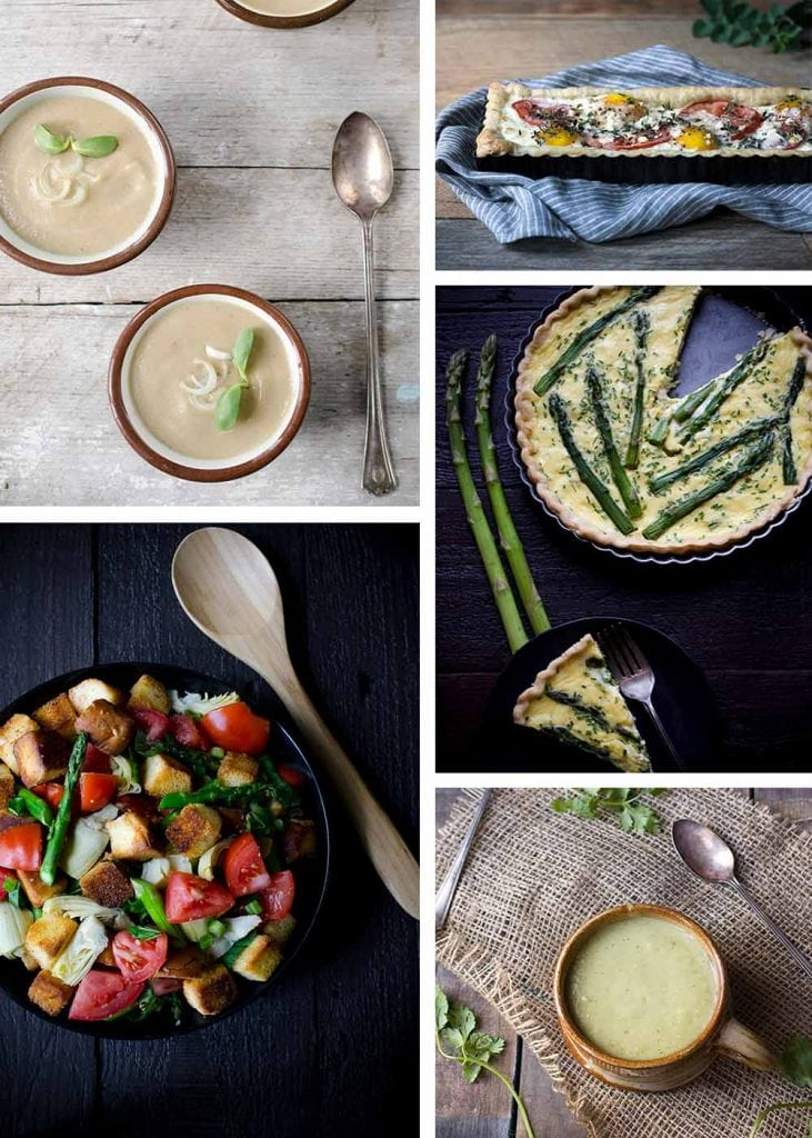 A photo collage of spring recipes from Savory Simple, including Cream of Mushroom and Onion Soup, Spring Panzanella Salad, Tomato Egg Tart, Asparagus Quiche, and Chilled Tomatillo Soup