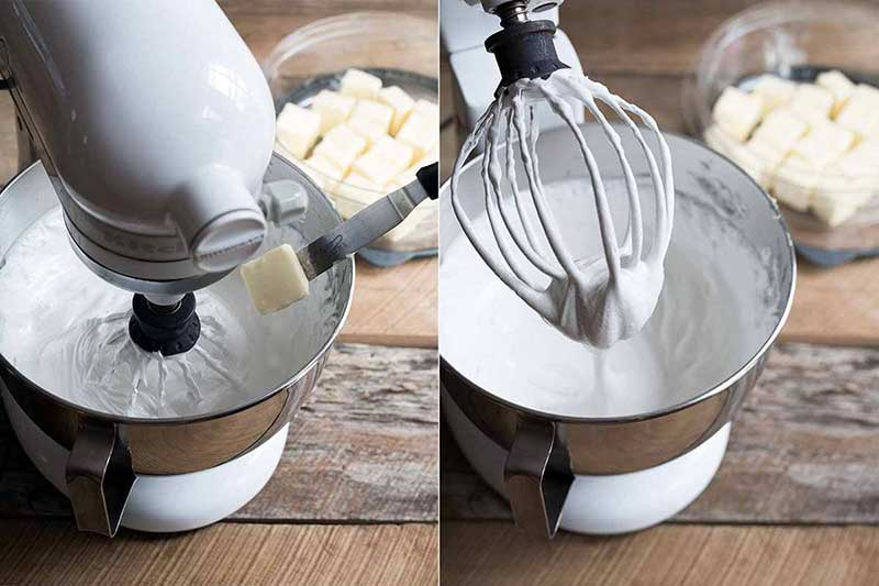 Adding butter to buttercream in a stand mixer