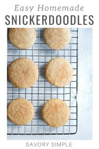 Snickerdoodle cookies with text overlay.