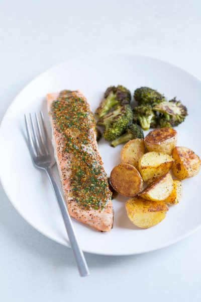 Baked Salmon with Mustard-Chive Sauce, Roasted Potatoes and Broccoli