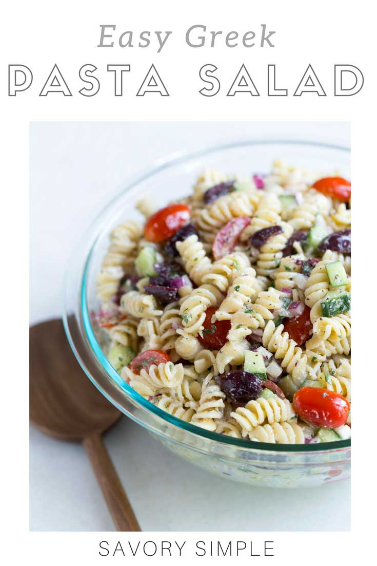 Greek Pasta salad is a fast and easy side dish that's perfect for summer barbecues and potlucks! Salty feta cheese and Kalamata olives balance sweet tomatoes, while cucumbers add a crunchy texture. This greek pasta salad recipe will soon become a staple recipe in your kitchen arsenal
