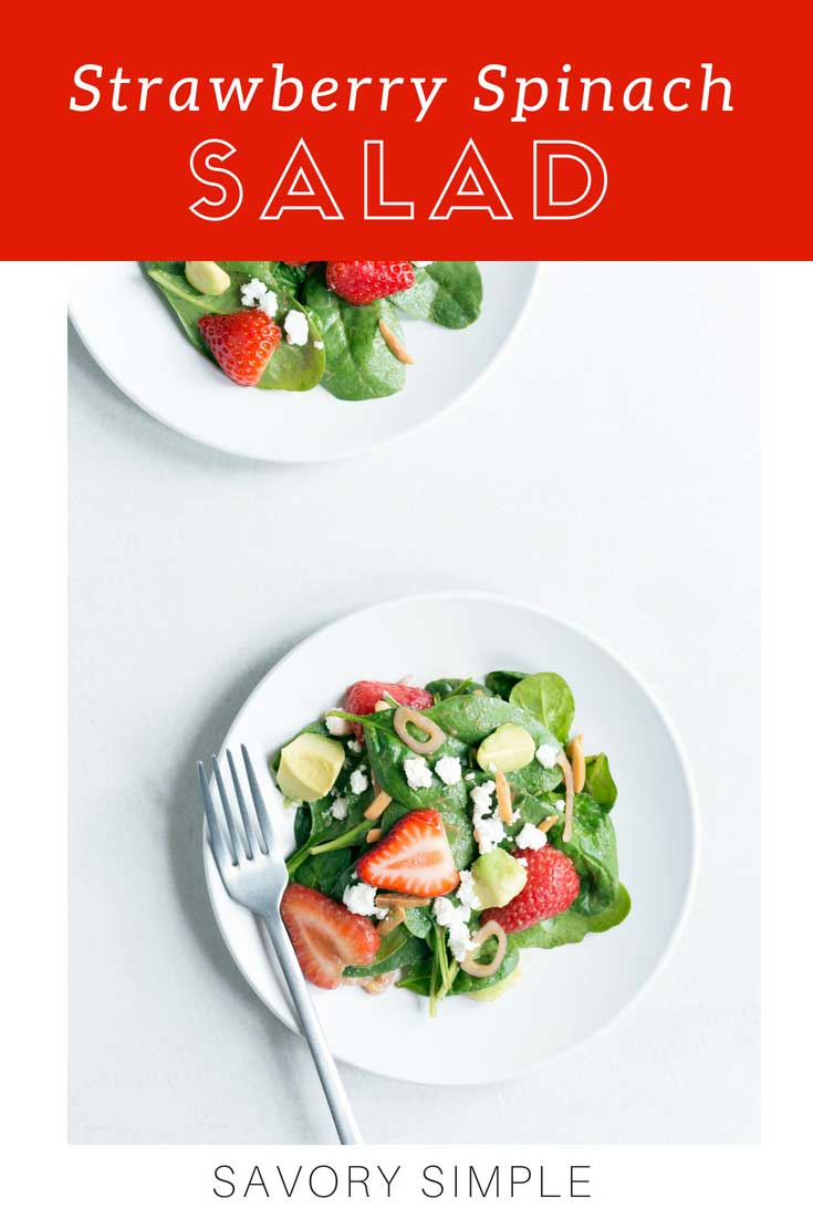 Try this easy Strawberry Spinach Salad recipe for a delicious summertime treat! Add grilled chicken to turn this into a satisfying lunch or dinner option.