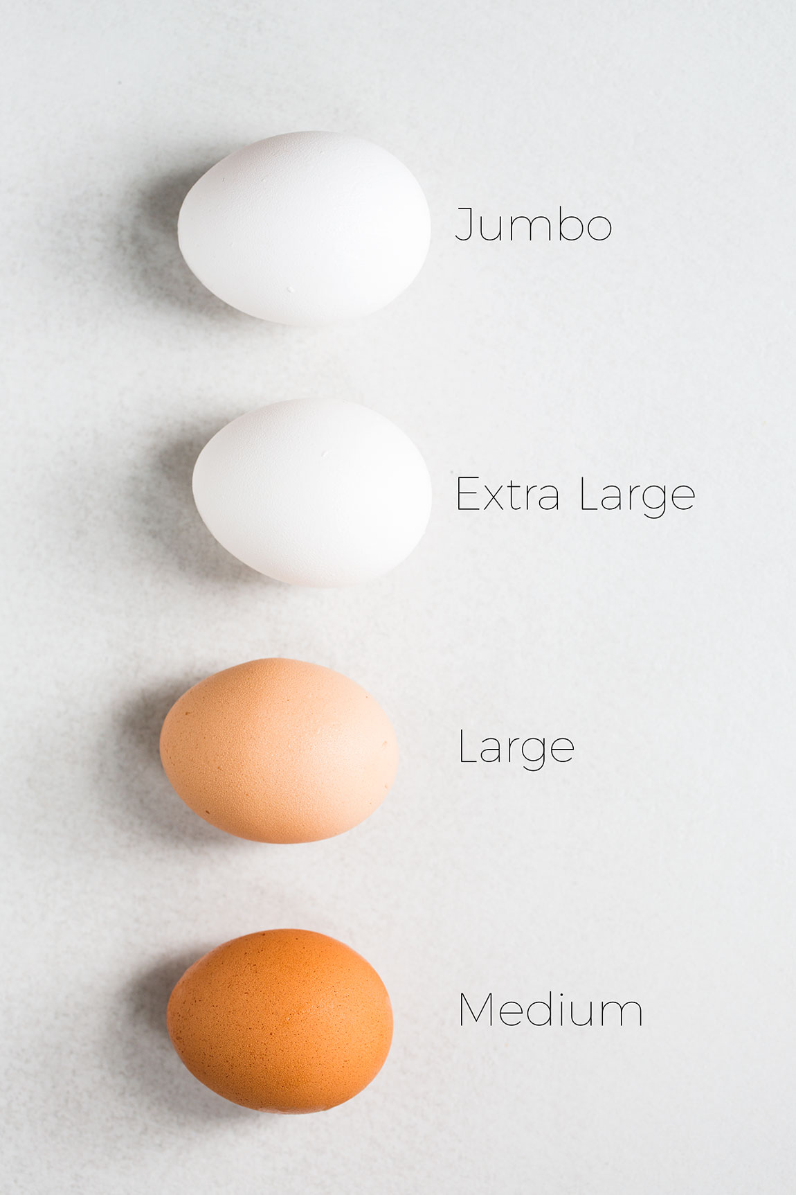 Jumbo, extra large, large, and medium eggs laid out next to each other for egg size comparison, with text overlays to identify each egg.
