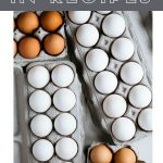 "A photo of assorted eggs in cartons with a text overlay ""why egg size matters in baking"""