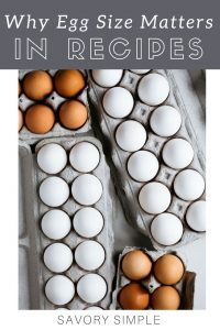 """A photo of assorted eggs in cartons with a text overlay """"why egg size matters in baking"""""""