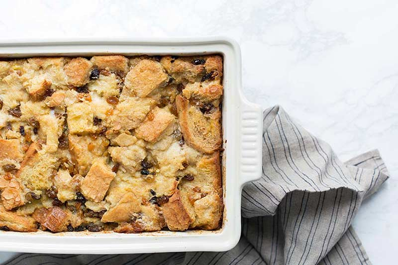 An overhead photo of homemade bread pudding.