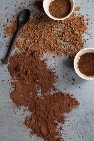 A photo comparing Natural and Dutch-processed cocoa powder side by side.