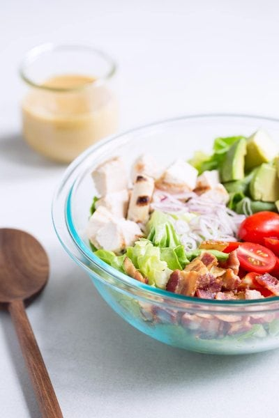 Bacon Avocado Chicken Salad Recipe in a large bowl.