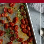 roasting tomatoes with text overlay