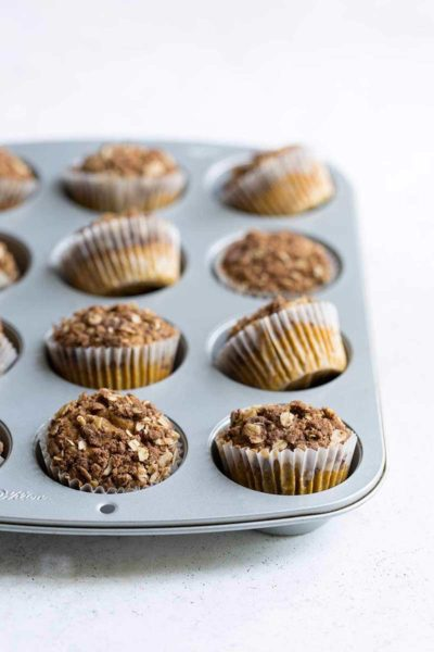 Pumpkin muffins topped with crunchy spiced streusel topping