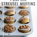 Pumpkin muffin recipe photo with text overlay