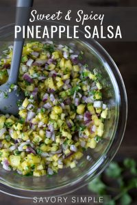 Pineapple Salsa recipe photo with text overlay