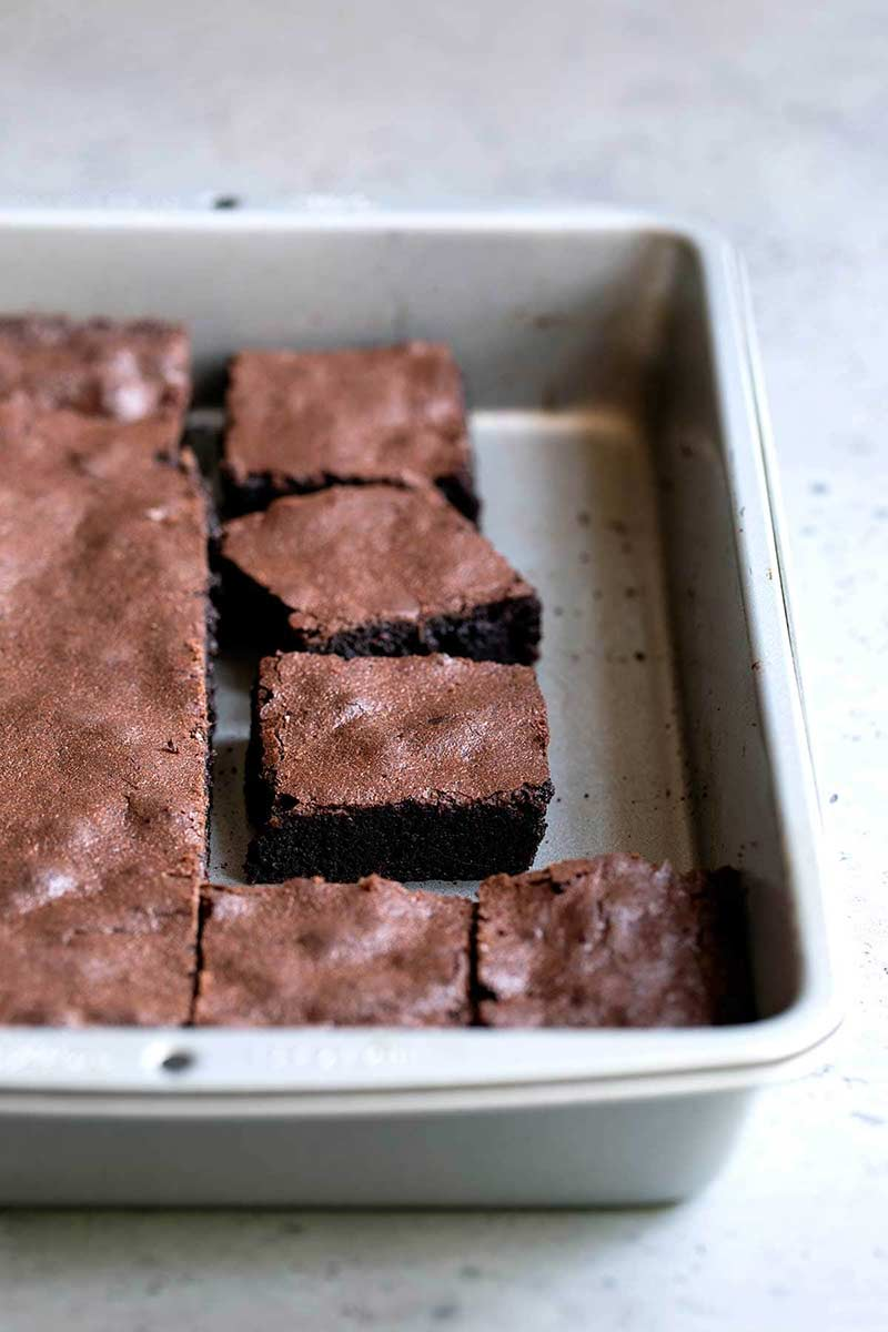 Chocolate brownies from scratch in a 9x13 baking pan.