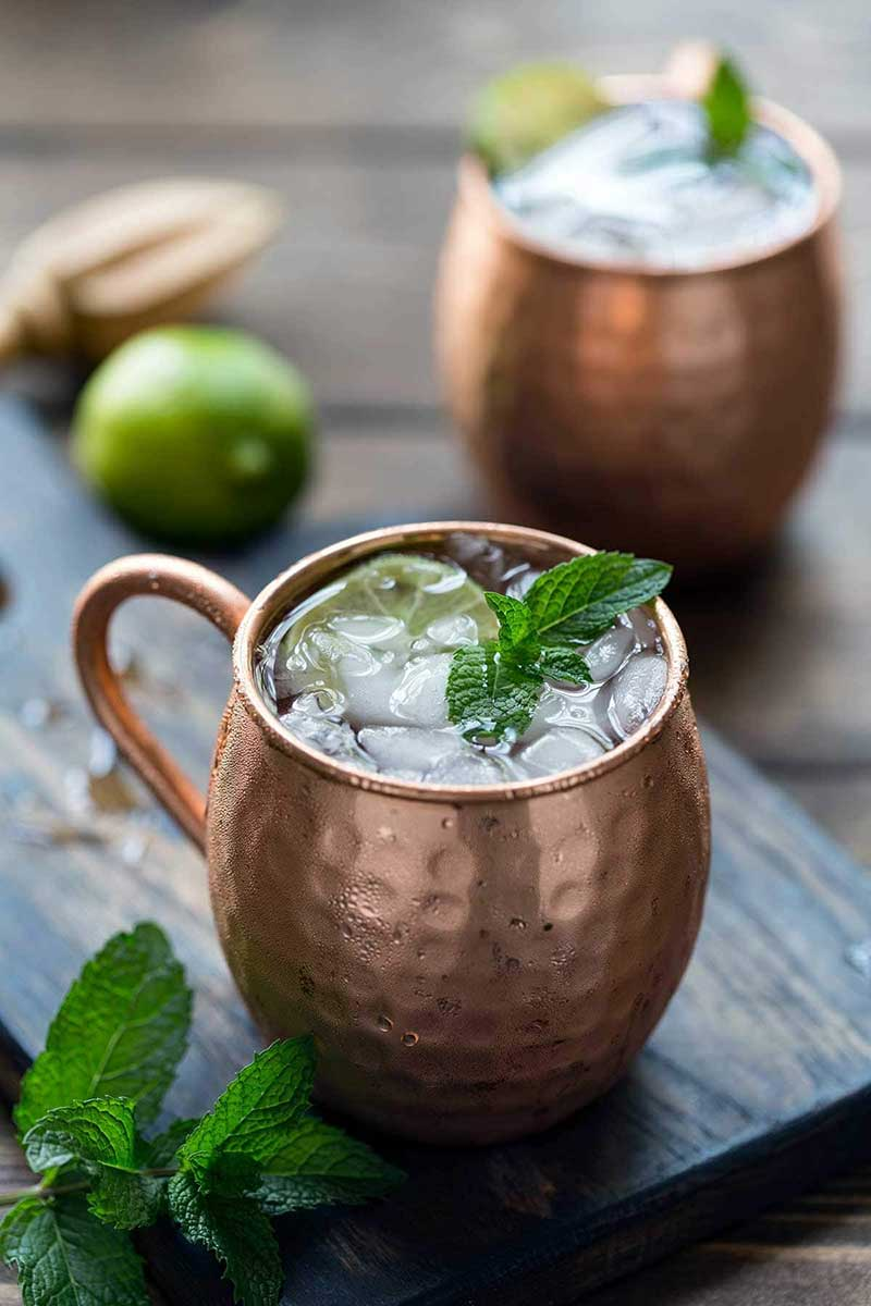 closeup of Moscow mule garnished with mint