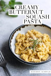 Photo of butternut squash pasta with text overlay
