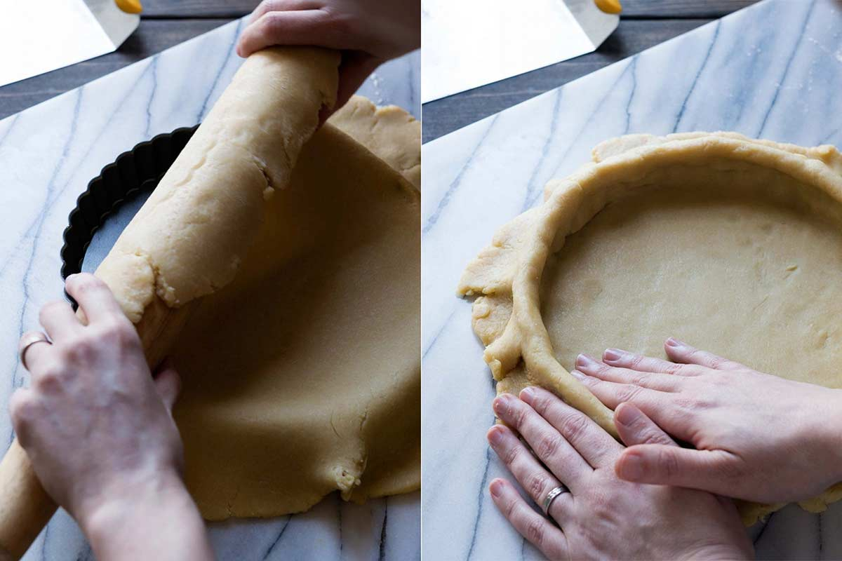 Rolling chocolate tart dough