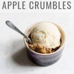 Apple Crumble in a ramekin with ice cream