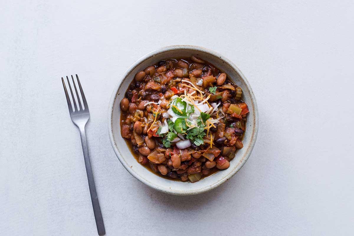 Homemade vegetarian chili recipe in a bowl