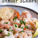 Sheet pan shrimp scampi with text overlay