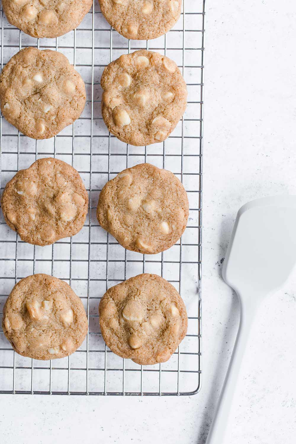 White chocolate macadamia nut cookie recipe cooling on a wire rack