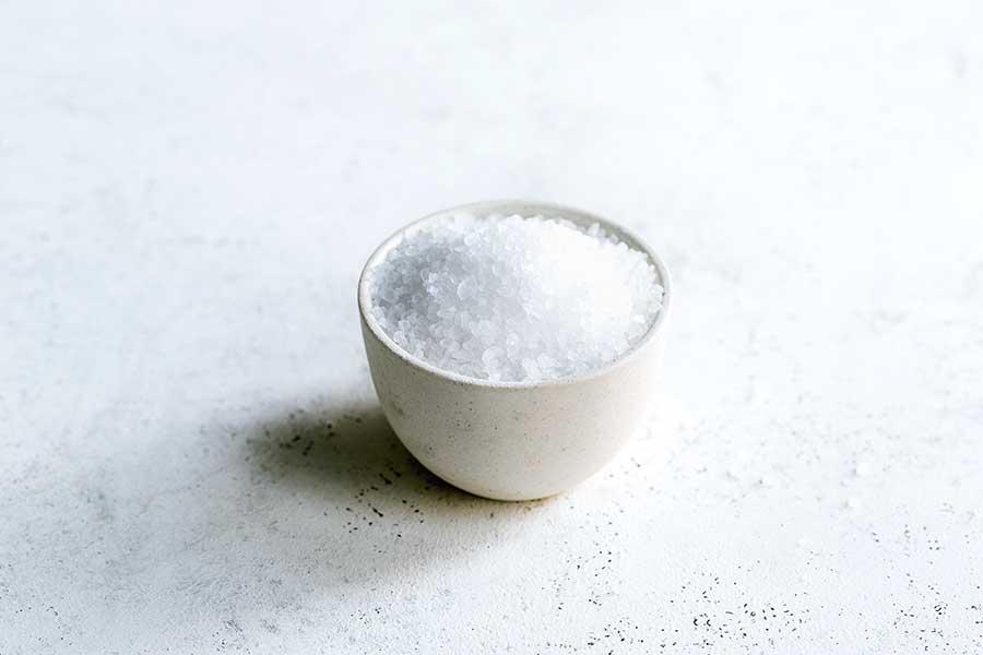 Coarse salt in a bowl