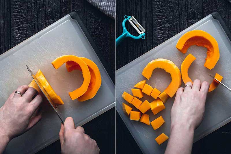 2 photos side-by-side demonstrating how to cut butternut squash into cubes