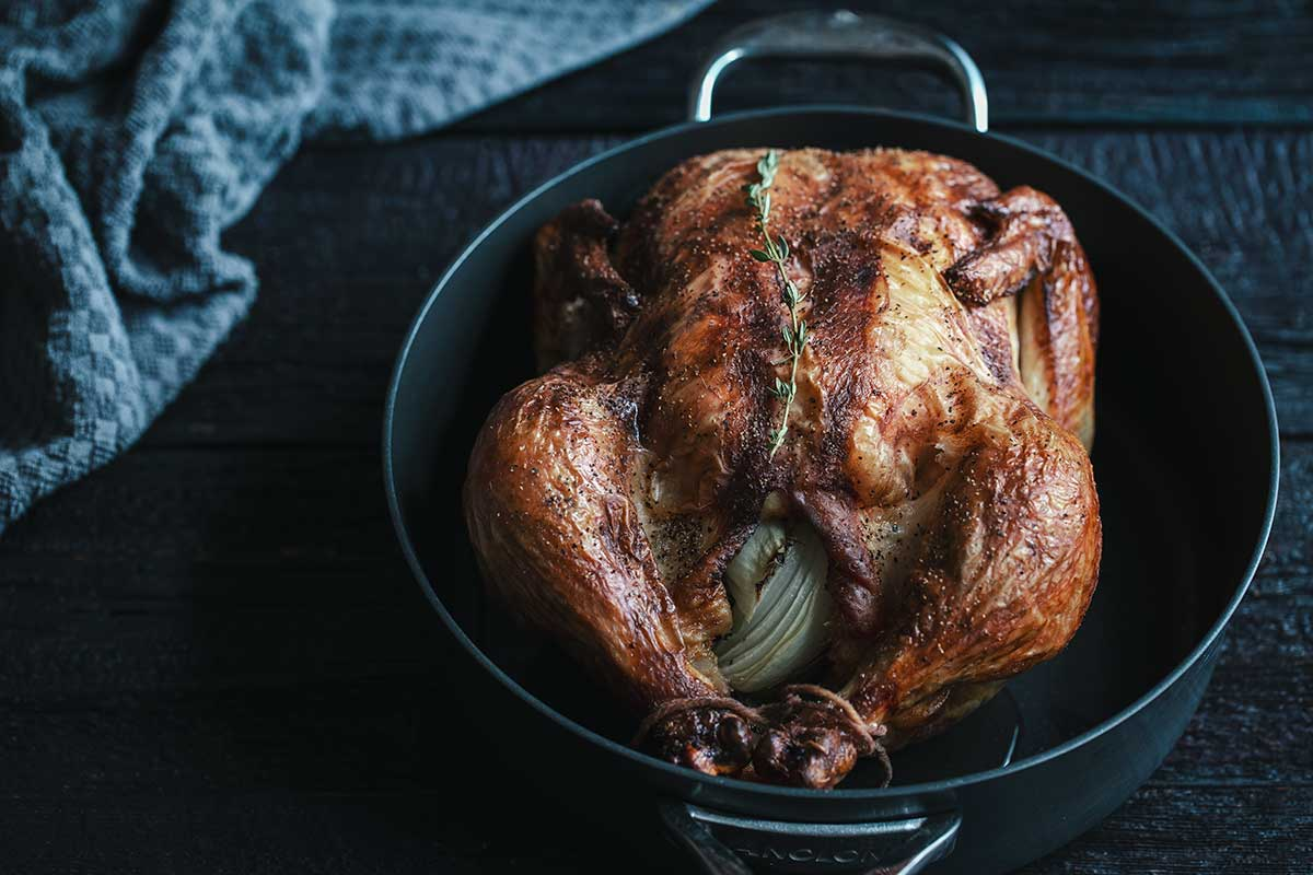Buttermilk chicken garnished