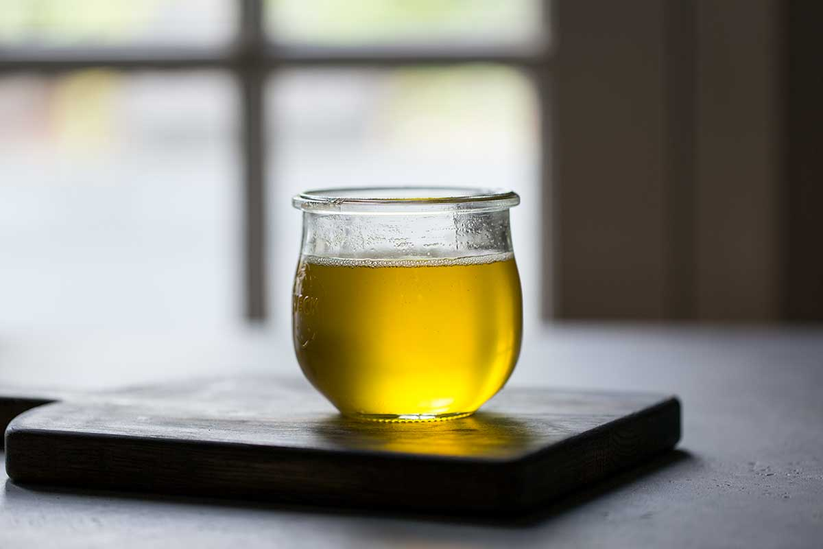 Clarified butter in glass