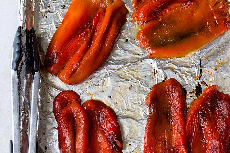 Roasted peppers with tongs for how to roast red peppers tutorial