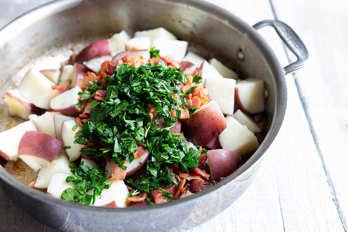 Ingredients for potato salad in skillet before combining