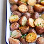 Oven-roasted potatoes recipe on a sheet pan