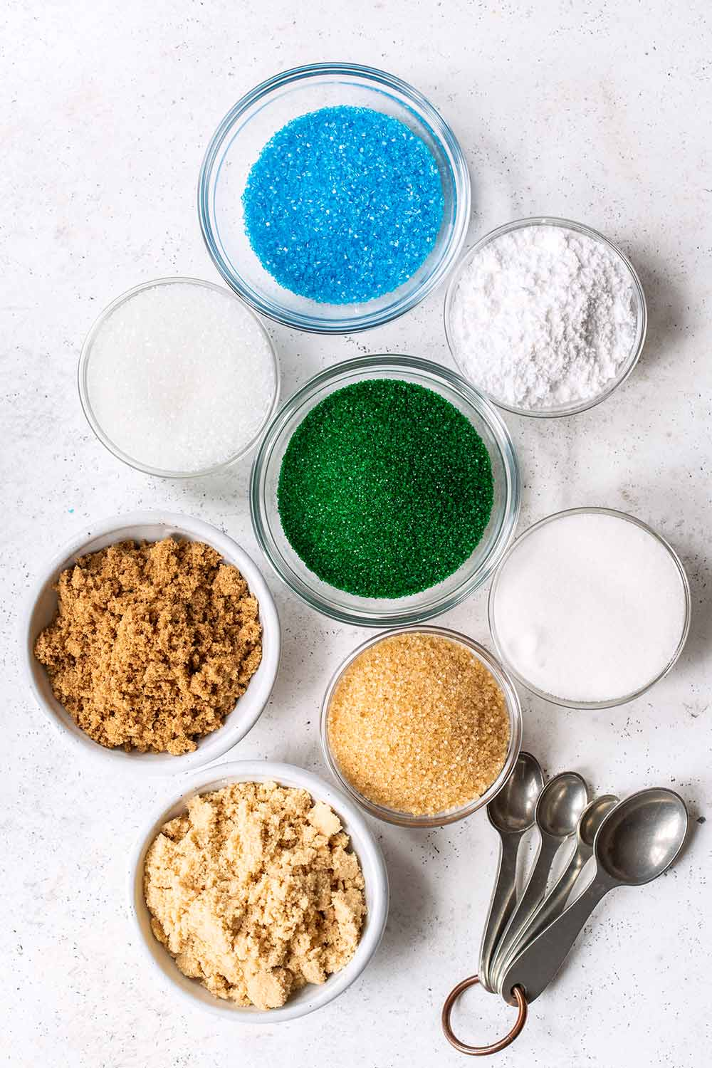 Different types of sugars in individual bowls