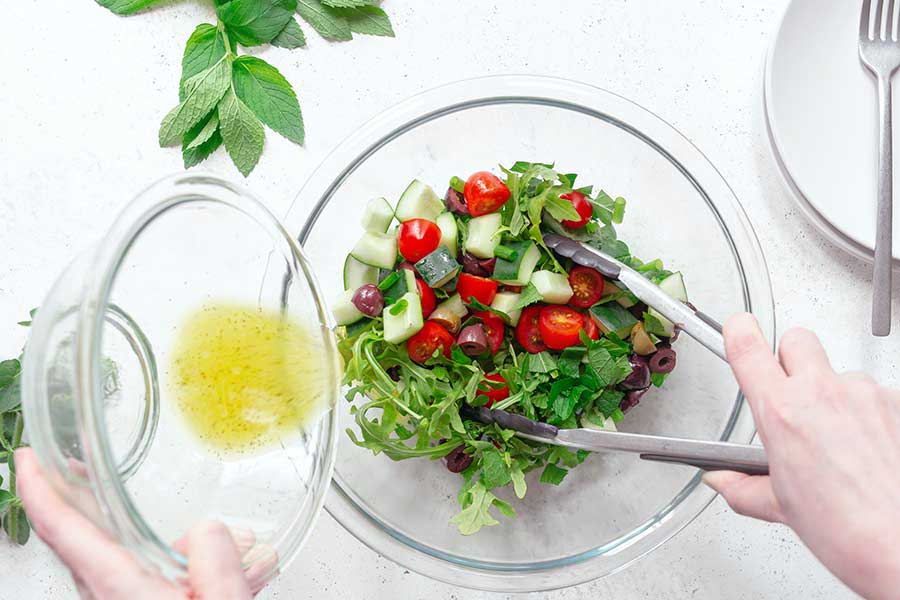 Combining salad dressing with other ingredients