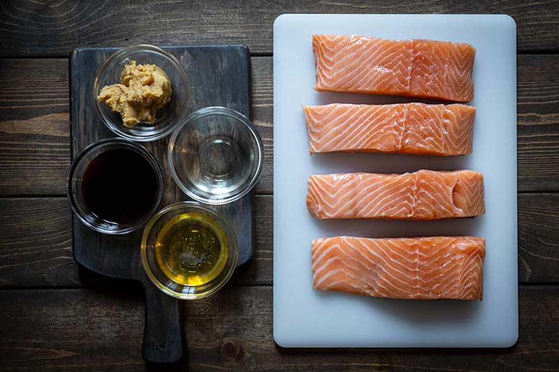 ingredients for miso broiled salmon recipe