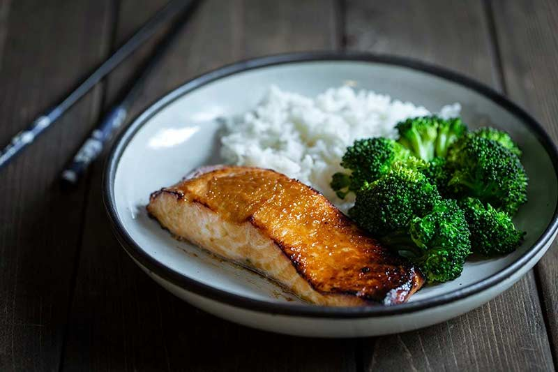 Miso broiled salmon with broccoli and rice