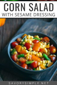 Sesame corn salad recipe in a bowl with text overlay