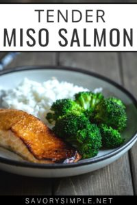 This miso salmon recipe is a perfect easy weeknight meal (and it makes great leftovers). The sweet and salty marinade adds tons of flavor.