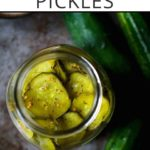 homemade pickles photo with text overlay