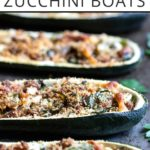 "Side angle closeup of sausage-stuffed zucchini boats recipe with text overlay: ""Italian sausage zucchini boats"""