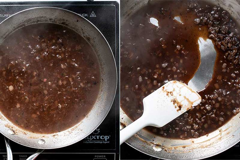 Stirring the thickened pan sauce reduction with a spatula