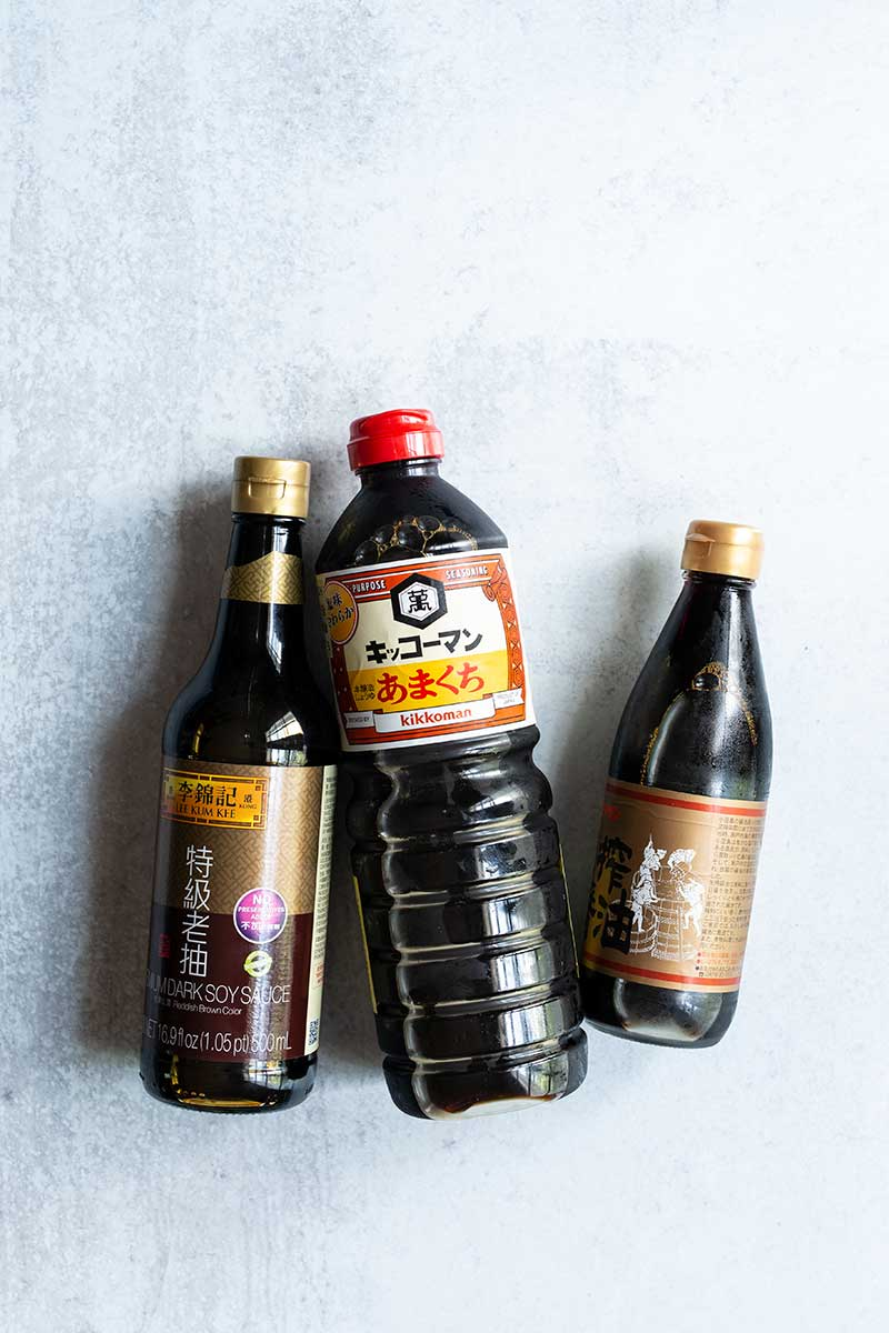 "Three types of soy sauce showcased for ""does soy sauce need to be refrigerated"" article"
