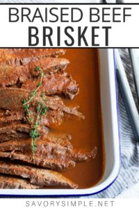 Braised beef recipe in a serving dish with text overlay